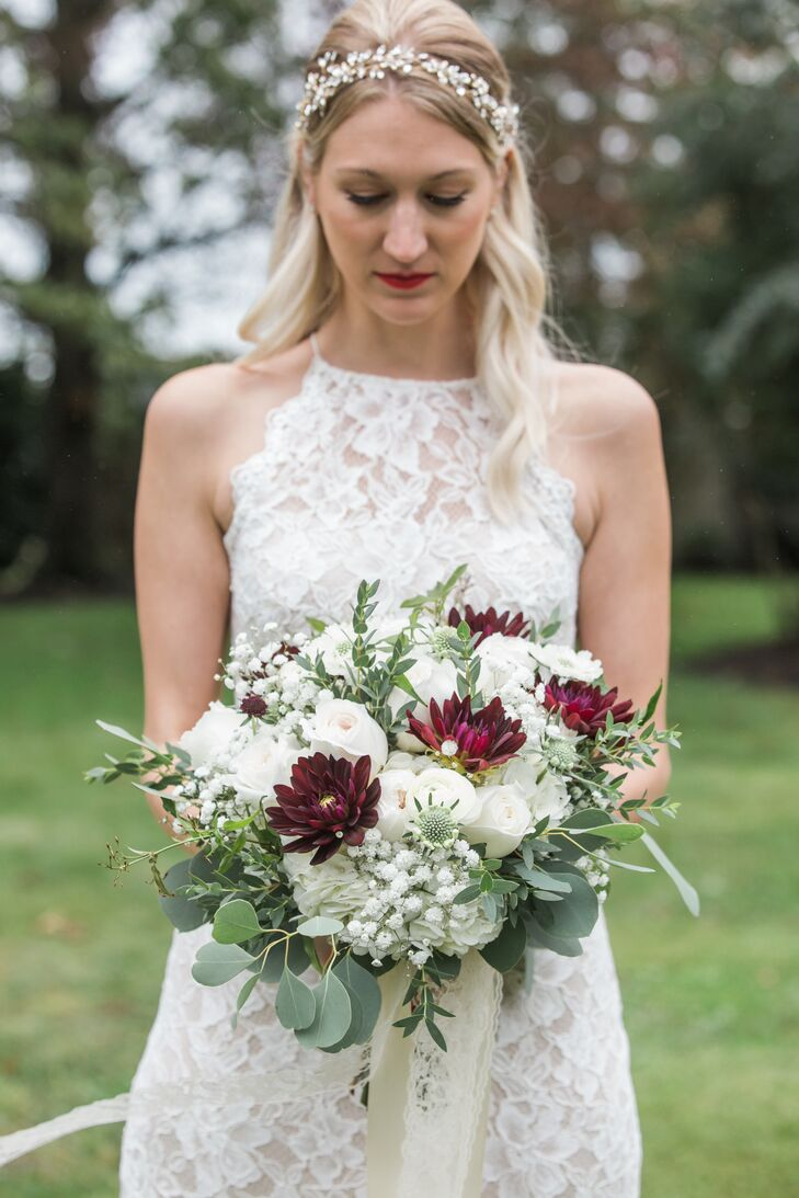 White Roses, Baby's Breath and Burgundy Dahlias