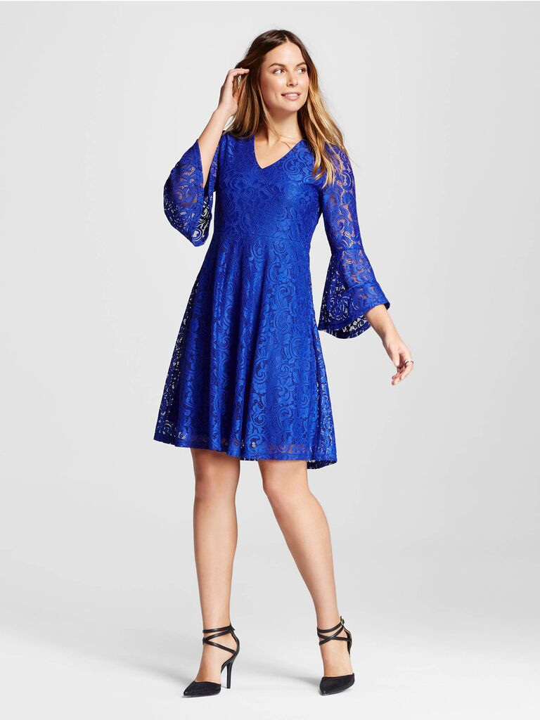 Superbe Target Blue Trumpet Sleeve Lace Dress