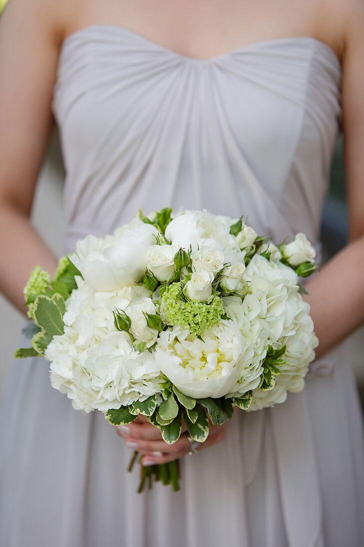 White and Green Hydrangea Bridesmaid Bouquets
