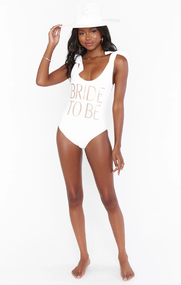 White Bride to Be tie-shoulder swimsuit