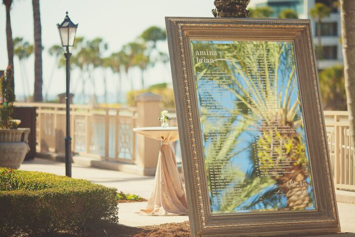 Vintage Seating Chart with Palm Tree Designed