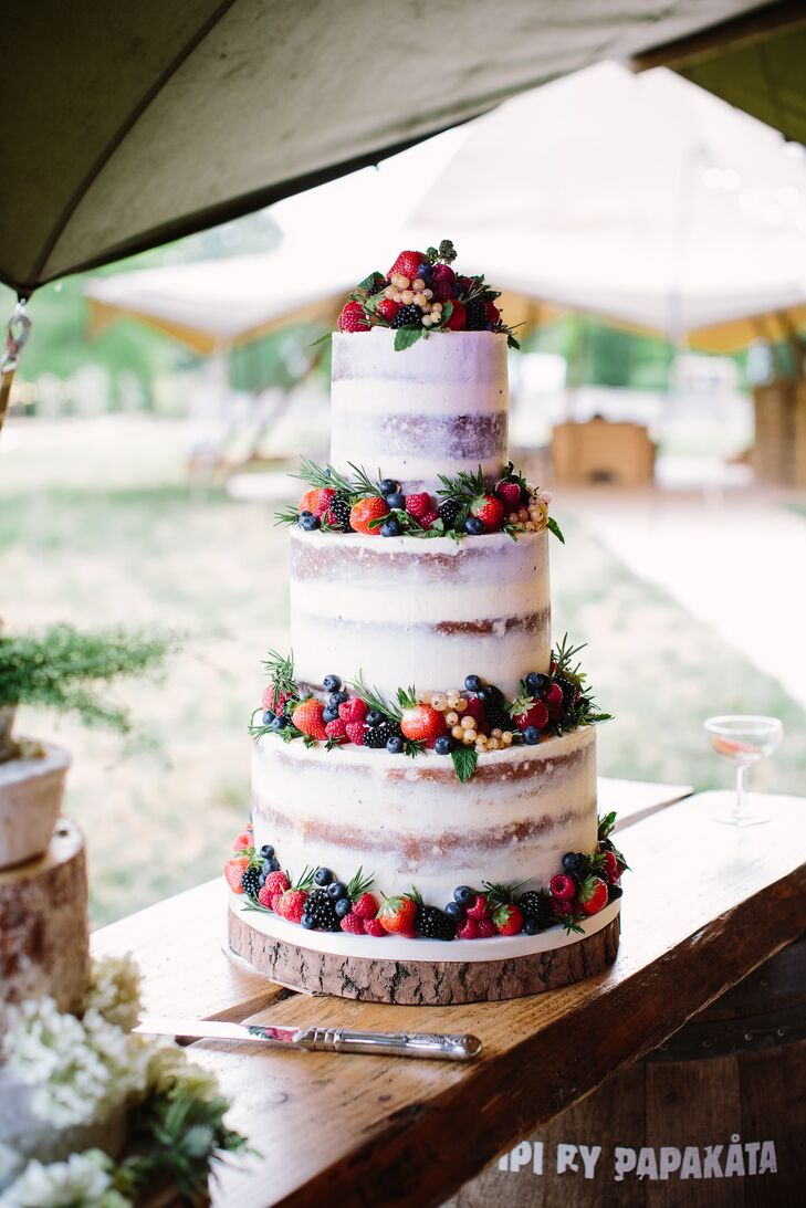 Rustic Naked Cake with Berries