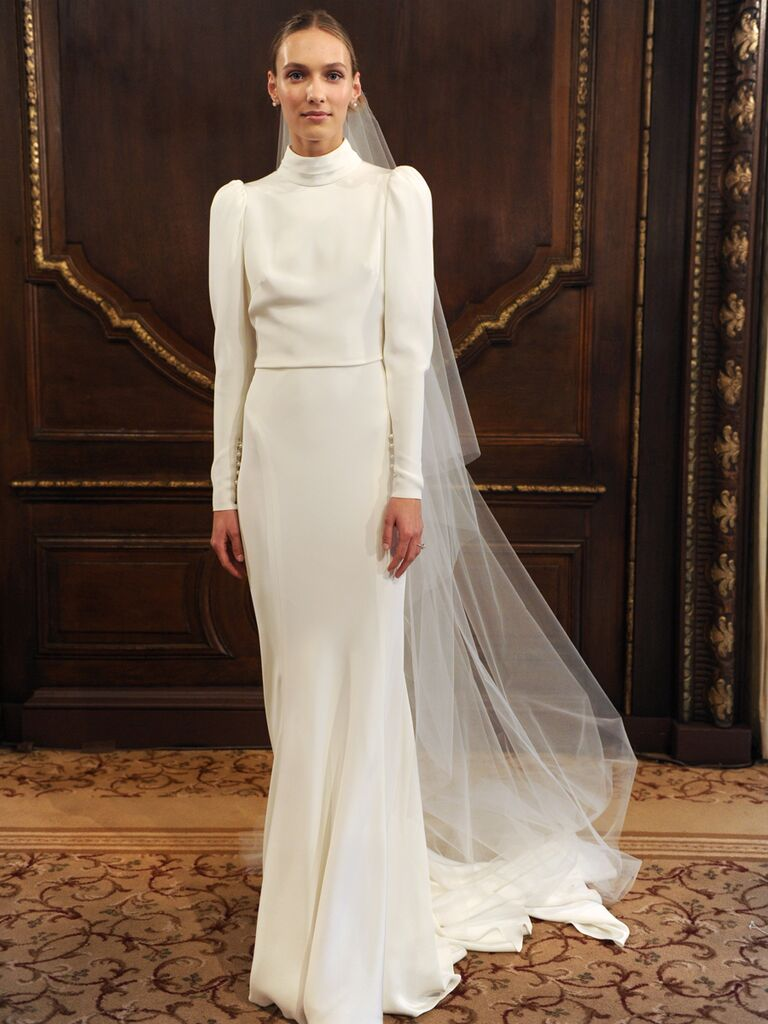 ac7f6c516cf3 Monique Lhuillier Spring 2019 Collection silk white crepe long sleeve  gathered high neck sheath wedding dress