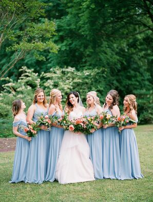 Pale Blue Chiffon Off-the-Shoulder Bridesmaid Dresses