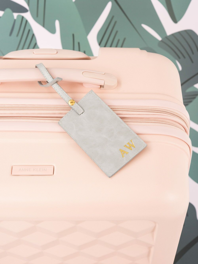 monogram luggage tag for newly engaged friend