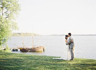 Ayse and Jack threw a destination waterfront wedding for friends and family on the lawn of the Historic St. Mary's City State House.  From the neutral