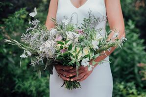 Romantic Bouquet of Greenery, Lavender, Thistle, Roses and Wildflowers