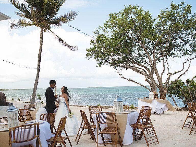 Wedding reception set up at Whale Harbor Restaurant in Islamorada Florida