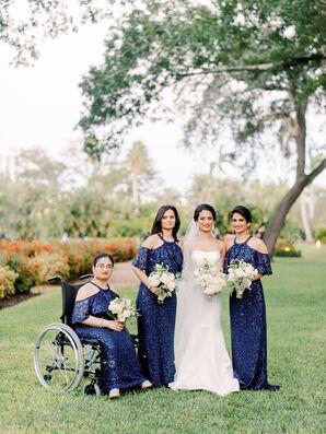 Elegant Long Blue Bridesmaids Dresses at Regal Miami, Florida, Wedding