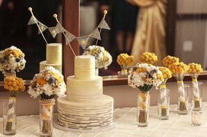Yellow and Gray Ombre Cake