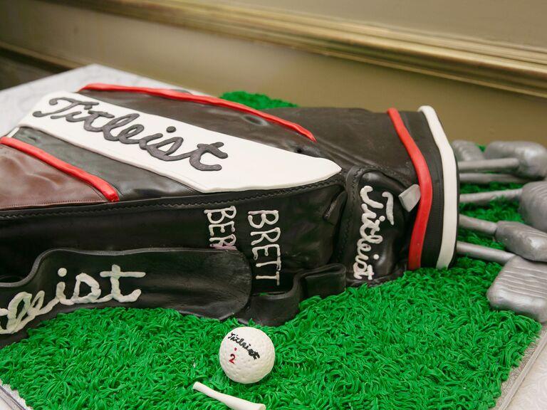 Golf club carrier groom's cake