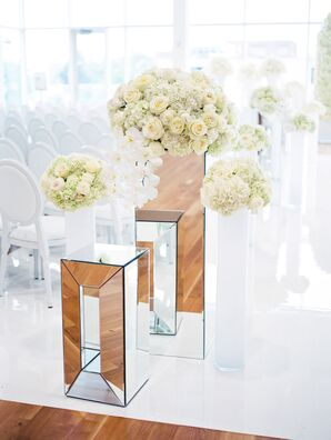 Modern Ceremony with Mirrored and White Accents
