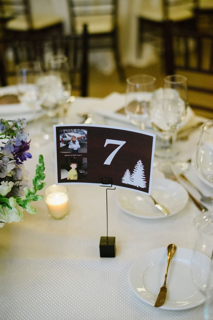 Kim and Justin took their guests on a trip down memory lane during the reception. In addition to a heritage table where old family wedding photos were put on display, the couple paired each table number with photos of themselves at the corresponding age.