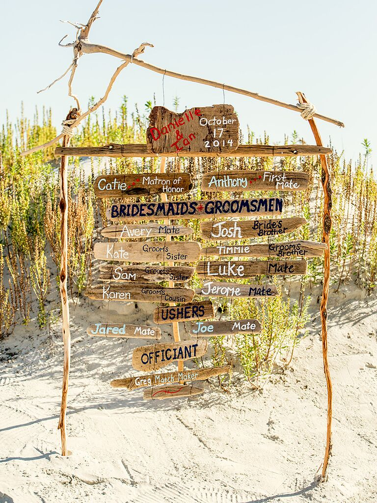 DIY beach wedding sign