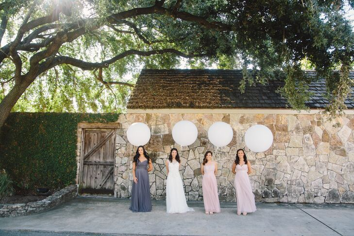 Bridal Party with Oversized Balloons