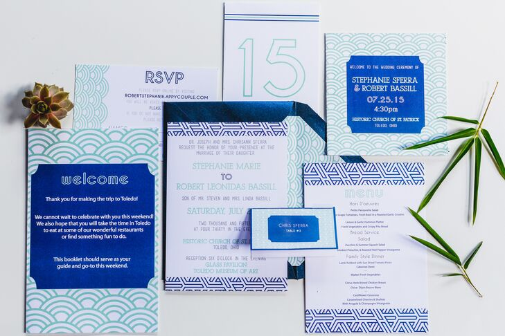 """It utilized our colors and geometric designs and was unique to us,"" Stephanie says of their custom invitation suite."