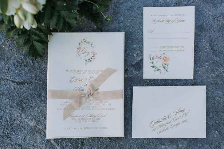 Classic Invitations with Monogram and Gold Calligraphy