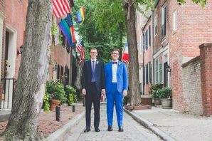 Modern Grooms with Navy Suit and Blue Suit