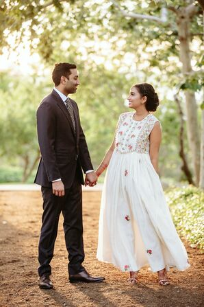 Traditional Suit and Floral-Embroidered Reception Dress