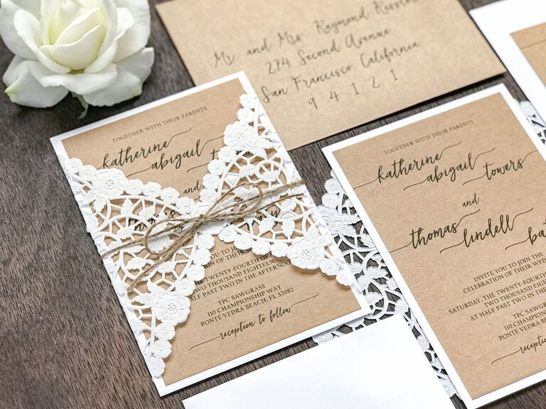 Lace and string country wedding invitation