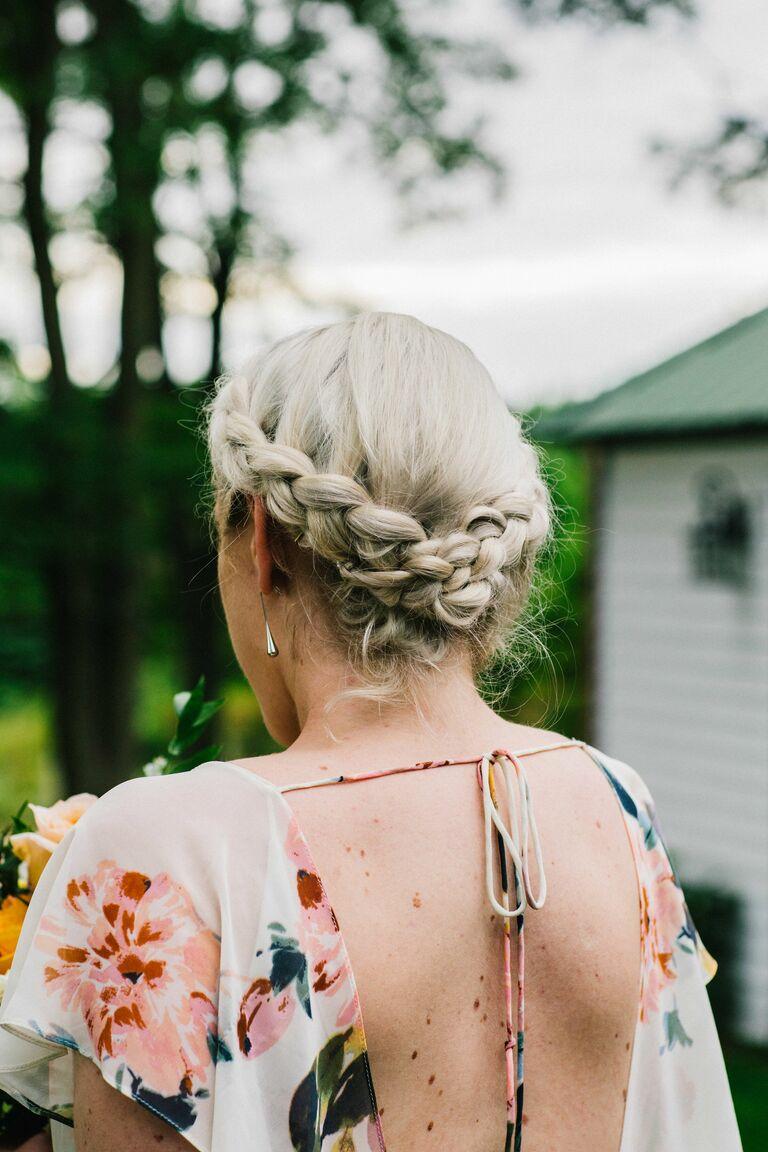 Wedding updo braid cown