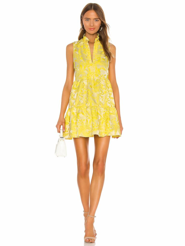 yellow silk mini dress with tiered skirt