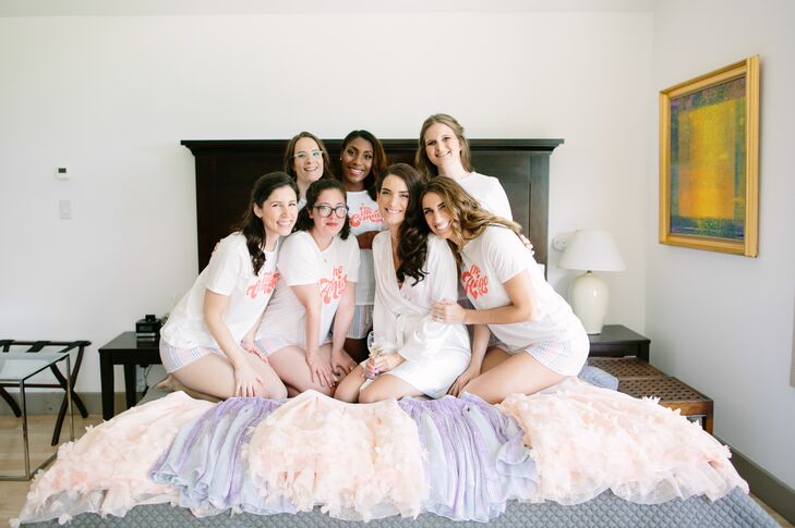 "Every element of the day exuded a personal vibe, right down to the wedding party attire. ""I was determined to stray from the usual long dresses you see for bridesmaids,"" Julia says. The bride opted to have her girls don pastel pink tulle and purple sequin midi skirts, which they paired with cream-colored blouses and shoes of their choosing. ""I didn't want them to feel like they were wearing a uniform,"" Julia says."