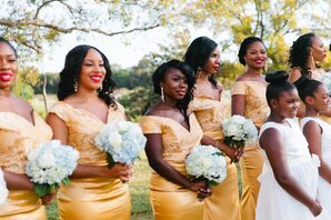 Elegant, Custom-Designed Gold Brocade Bridesmaid Dresses