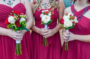 White and Red Rose Bridesmaid Bouquets