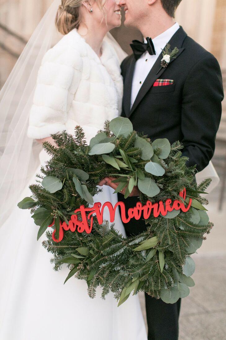 Christmas Wreath Décor at Chicago Wedding