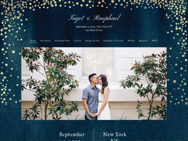 Elegant Sky Wedding Website Template, The Knot