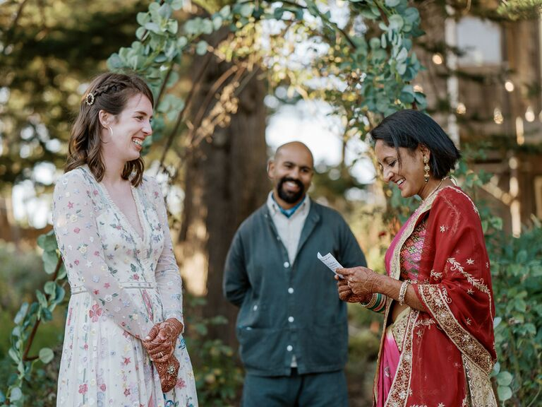 wedding officiant couple reading vows