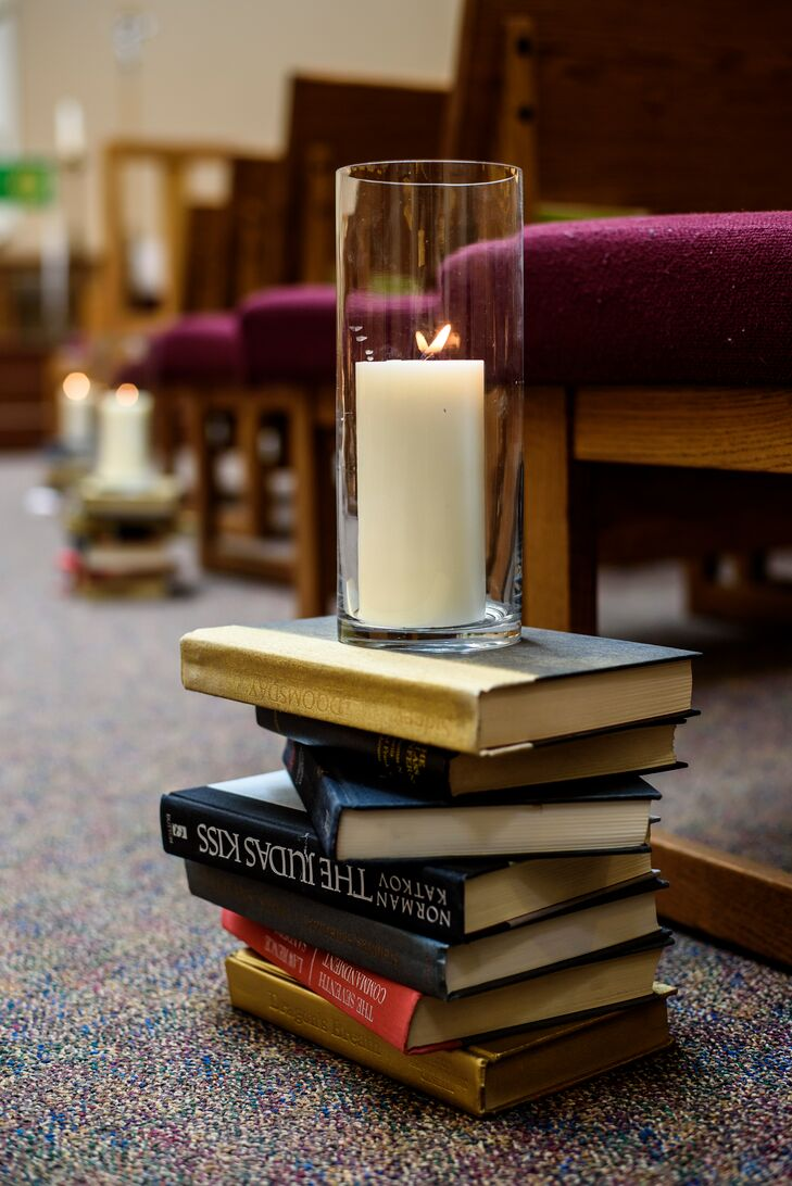 Vintage Book and Candle Ceremony Aisle Decor