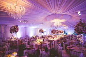 Romantic, Elegant Reception Tent with Crystal Chandeliers