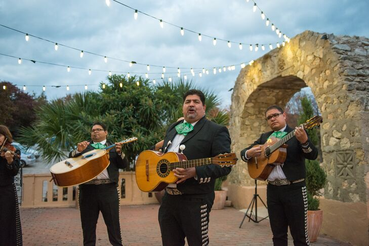 A six-piece mariachi band serenaded guests as the sun set over the Austin hills.