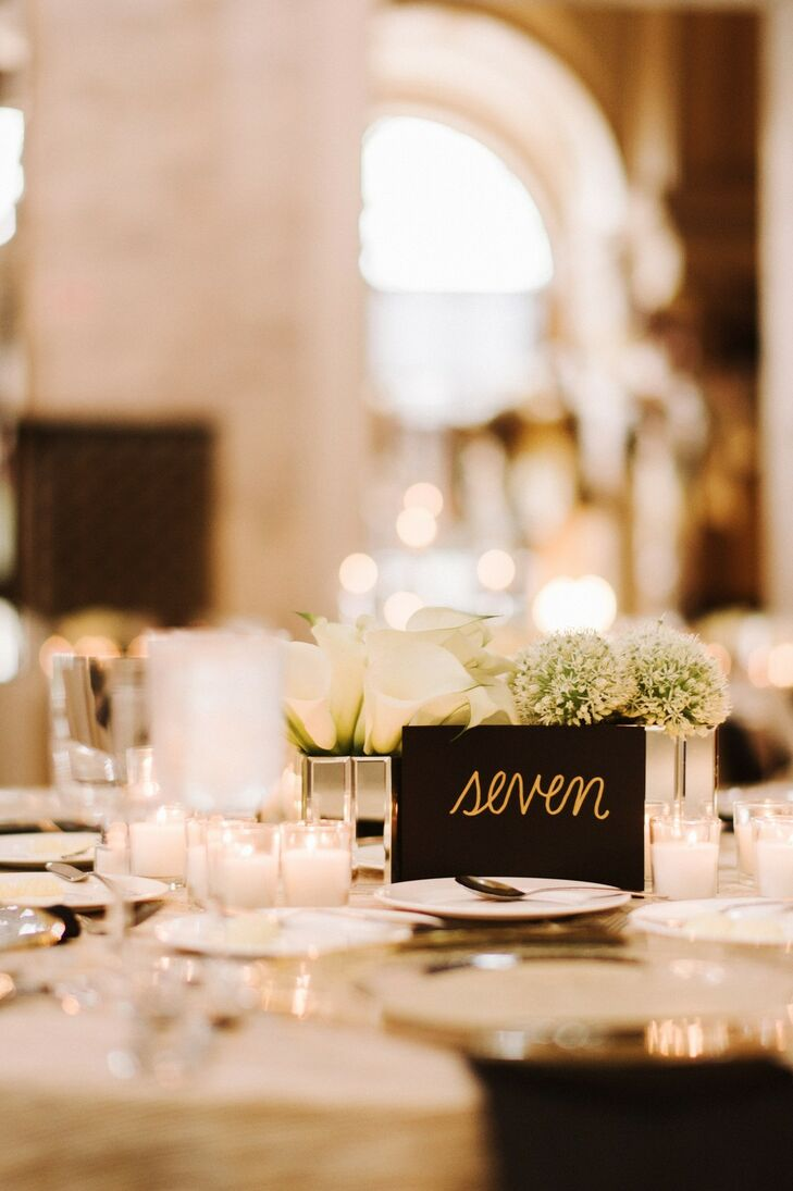 All-White Tablescape with Simple Black Table Number