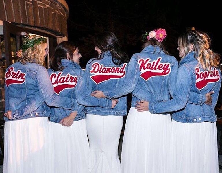 Bridesmaids in denim jackets