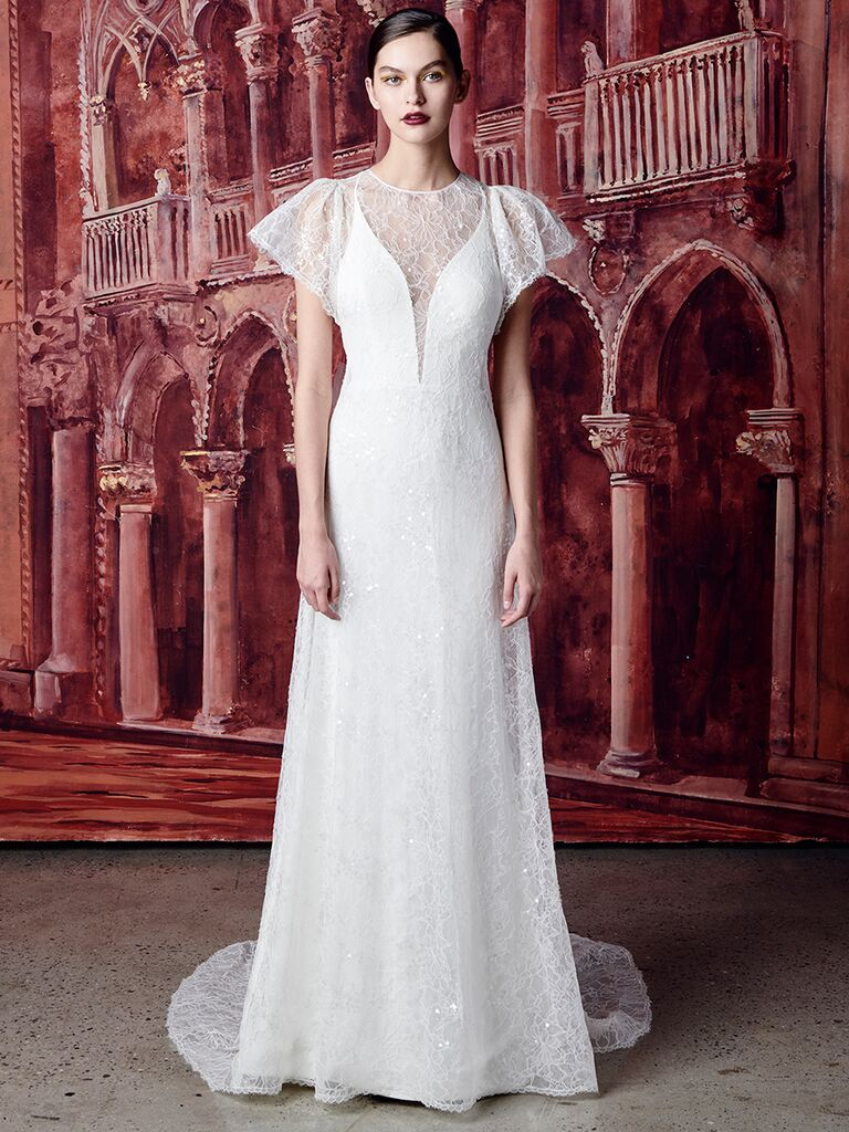 Isabelle Armstrong fitted dress with lace overlay