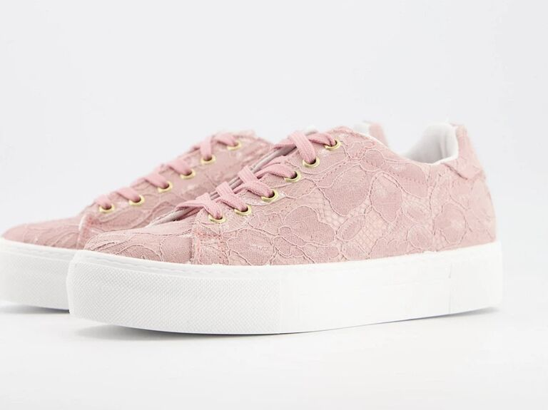 Blush pink lace bridal sneakers with white base