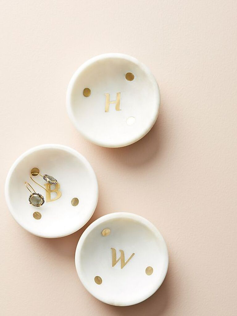 Anthropologie Marble Monogram Trinket Dish