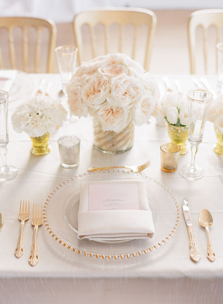 Gold-Beaded Charger Wedding Reception Place Settings