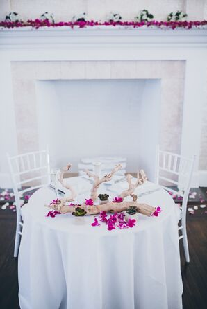 Modern White and Fuchsia Wedding Reception Decor