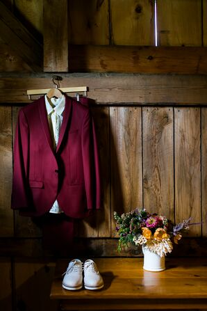 Burgundy Suit and Ivory Oxfords