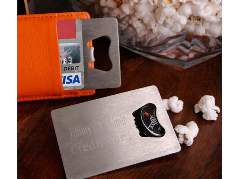 Credit card bottle opener gift for best man