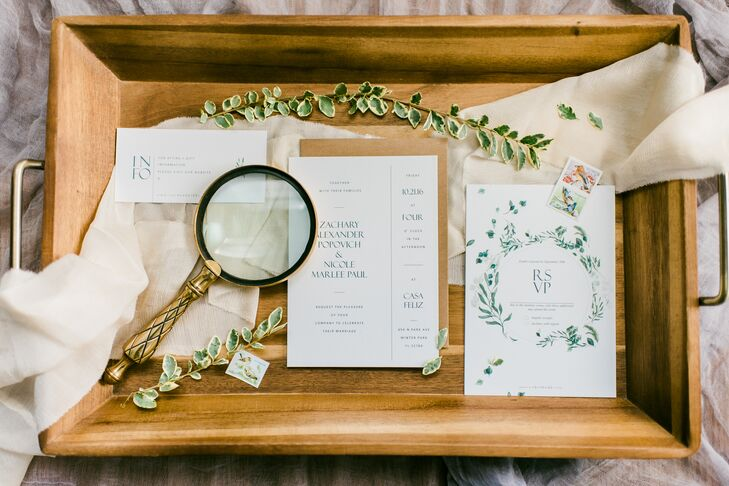 Hand-Designed Vine and Olive Leaves Stationery