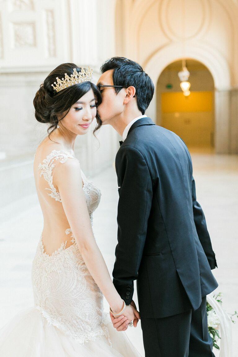 Wedding updo tiara