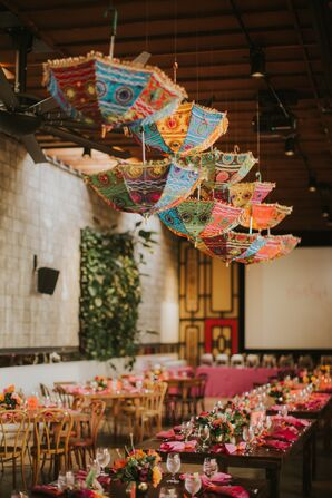 Bright, Embroidered Hanging Umbrellas