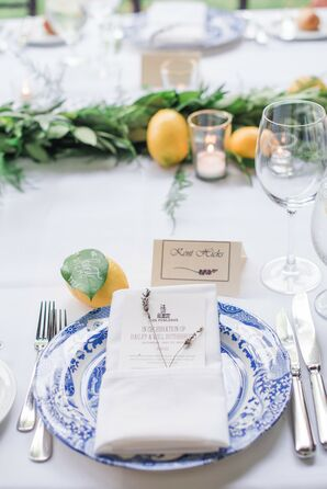 Place Setting with Chinoiserie Dinnerware, Menu and Lemons