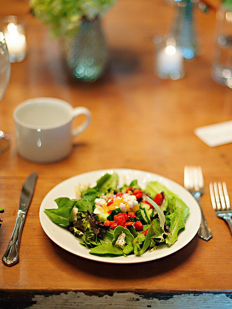 Spring green salad idea for a wedding reception entree