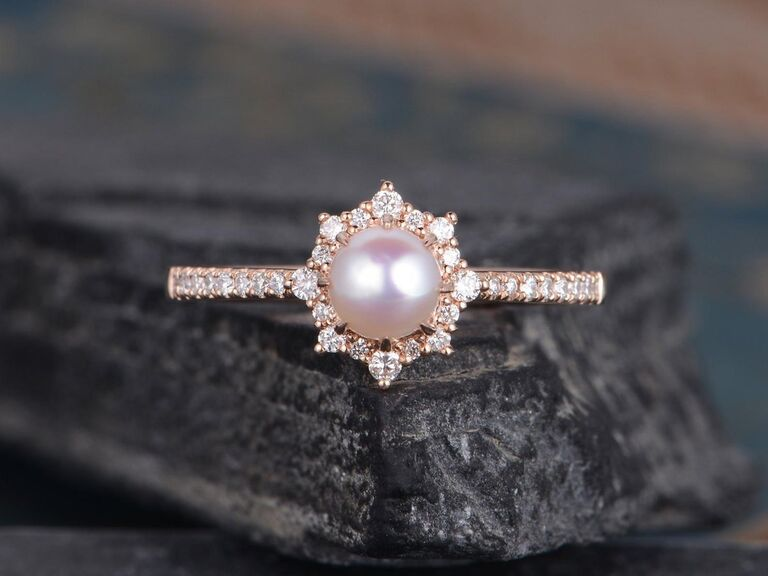 decadent pearl engagement ring